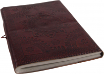 Thin notebook with leather cover - decorated cover 12*17 cm