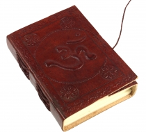 Notebook, leather book, diary with leather cover - Om 9*12 cm