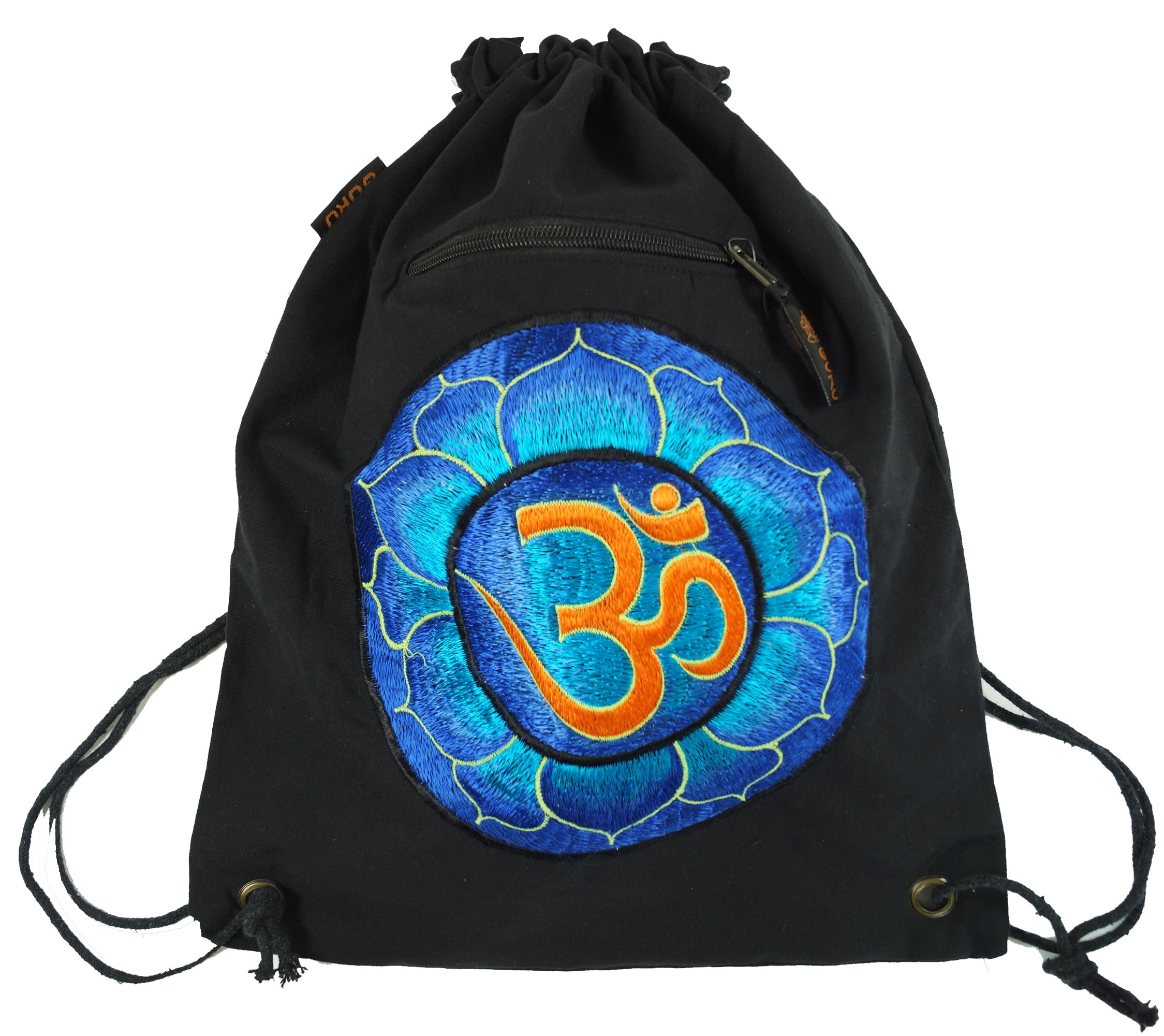 Embroidered gym bag, backpack, sports bag, leisure bag, Goa bag, hippie bag blackOm 45x38 cm